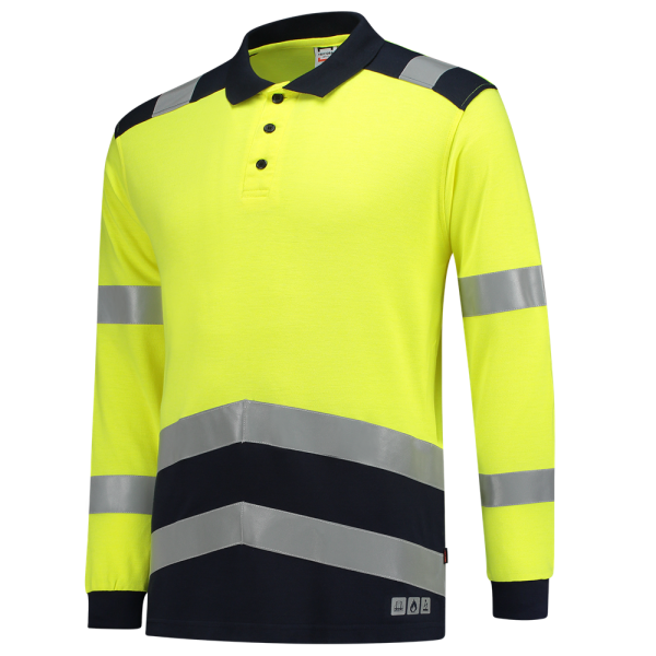 203003 Poloshirt Multinorm bicolor, fluor yellow-ink